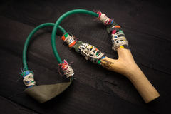 Wooden catapult slingshot Stock Images