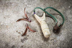 Wooden catapult slingshot Stock Photos