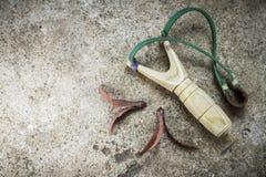 Wooden catapult slingshot Royalty Free Stock Image