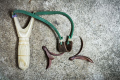 Wooden catapult slingshot Royalty Free Stock Photo