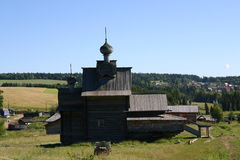 Wooden cathedral. Russian wooden cathedral in ethnological museum of Ural stock photo