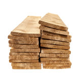 Wooden cedar boards piled Stock Images