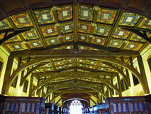 Wooden ceiling in Bodleian library. Oxford University. Oxford, United Kingdom Royalty Free Stock Photo