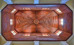 Wooden ceiling detail of an art deco building royalty free stock image