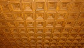 Wooden ceiling in a historic building. stock photo