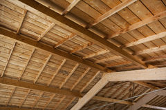 Wooden ceiling inside a house Stock Photo