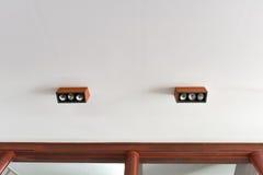 Wooden ceiling light Stock Photos