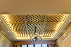 Wooden ceiling and lighting Stock Photography