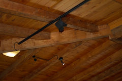 Wooden ceiling. Made of pine with a light Stock Photography