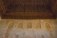 Wooden ceiling in Nasrid Palaces, Alhambra, Granada. Andalusia, Spain royalty free stock photos
