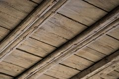 Wooden ceiling, old wood roof construction - attic royalty free stock image