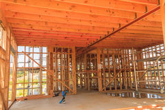 Wooden ceilings, building homes in New Zealand Stock Image