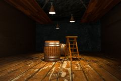 Wooden cellar with barrels and ladder inside, vintage beverage warehouse, 3d rendering. Computer digital background bucket container rustic retro ancient vector illustration