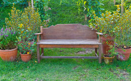 Wooden chair. Old wooden chair in garden Stock Images