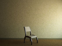 Wooden chair. A room with a wooden chair near the wall Stock Photo