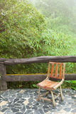 Wooden chair on the balcony Royalty Free Stock Image