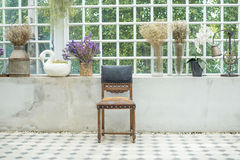 A wooden chair. Beautiful of wooden chair on balcony Royalty Free Stock Photography