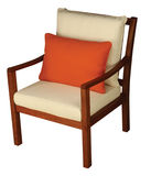Wooden Chair with Cushion. Isolated with clipping path Royalty Free Stock Image