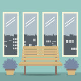 Wooden Chair With Four Glasses Windows Stock Image
