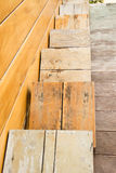 Wooden chair on the in front of the wall wood Royalty Free Stock Photography