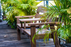 Wooden chair in garden with nature Royalty Free Stock Images