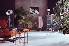 Living room with palm trees royalty free stock images