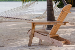 Wooden chair. The photo shows a wooden chair on the beach Royalty Free Stock Photography