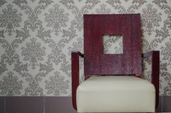 Wooden chair. Placed near a wall stock photography