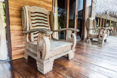 Wooden chair on raft resort Stock Photography
