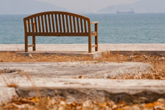 Wooden chair with sea. At Srichang Island Thailand Stock Image