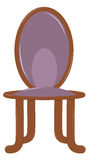 Wooden chair. With soft back and seat. Purple upholstery. Vector illustration Royalty Free Stock Photo