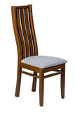 Wooden chair with soft seat isolated Stock Photo