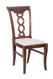 Wooden chair with soft seat isolated Royalty Free Stock Photo