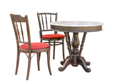 Wooden chair and table. (Asian style royalty free stock photo