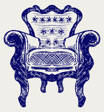 Wooden chair upholstered in leather Royalty Free Stock Photos