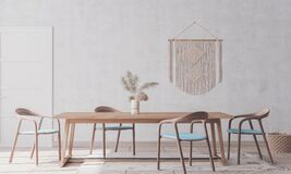 Free Wooden Chairs And Table On White Background,  Scandinavian Interior Design. Royalty Free Stock Photos - 192820348