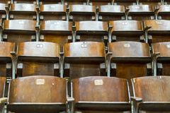 Wooden chairs in the circus.  Royalty Free Stock Photo