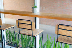 Wooden chairs in coffee shop Stock Photo
