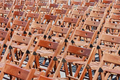 Wooden chairs before concert Royalty Free Stock Photos