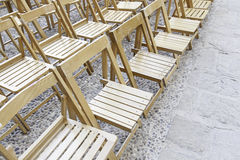 Wooden chairs in a concert Stock Photo