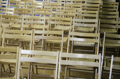 Wooden chairs in the conference room or at school Stock Photos