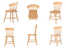 Wooden chairs in different angles stock images