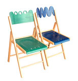 Wooden chairs green and blue Royalty Free Stock Photography