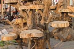 Wooden chairs, handicraft items on display , Kolkata Stock Photo