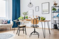 Blue open space interior royalty free stock images