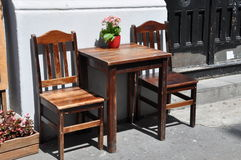 Wooden chairs and table Stock Images