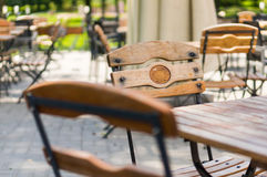 Wooden chairs and tables Royalty Free Stock Photography