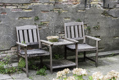 Wooden Chairs on terrace Stock Photo