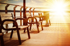 Wooden chairs on the terrace Royalty Free Stock Photo