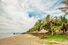 Wooden chairs and umbrellas on white sand beach Stock Photography
